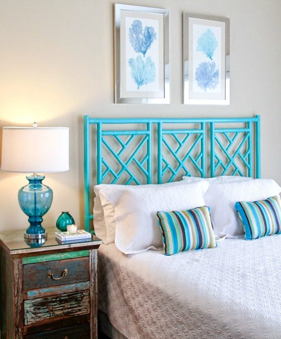 Happy bright blue and green beach home beach bliss living for Beach house bedroom designs