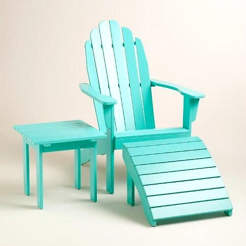 Tropical Ocean Blue Adirondack Chair and Side Table