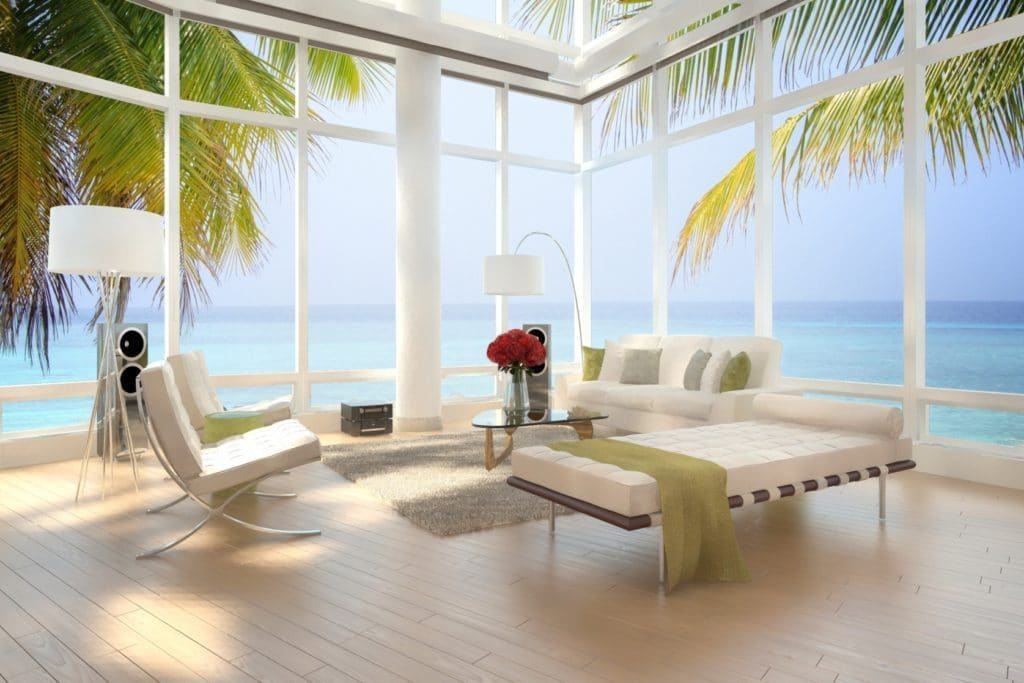 http://www.blucarrot.com/wp-content/uploads/2015/06/Interior-Apartment-Design-Feature-View-Beach-Bay-Window-Together-White-Tufted-Sofa-And-Tufted-Sofa-Bench-Also-Modern-Tufted-Chair-With-Chrome-Base-As-Well-As-Triangular-Coffee-Table.jpg