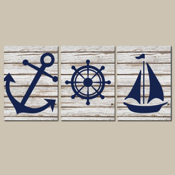 anchor sailboat and wheel wall art