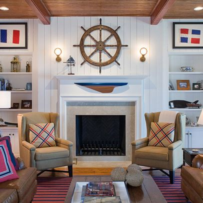 Awesome fireplaces within beach houses and cottages for Nautical interior designs