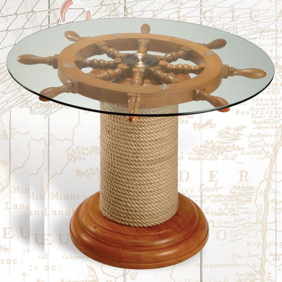 ships wheel on rope roll
