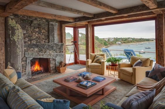 Awesome Fireplaces within Beach Houses and Cottages ...