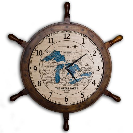 great lakes ship wheel wall clock