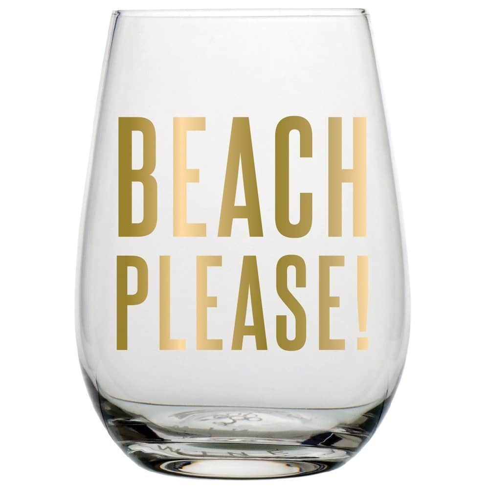 BEACH PLEASE! 20 oz Stemless Wine Glass