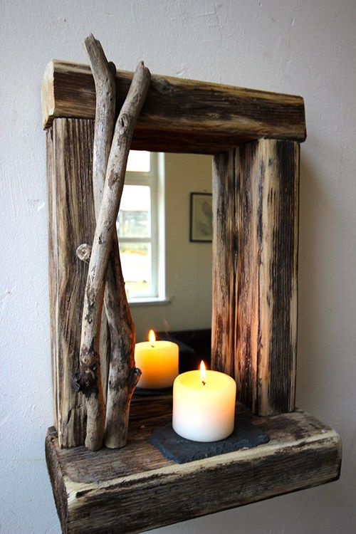 tall rectangular mirror with driftwood frame