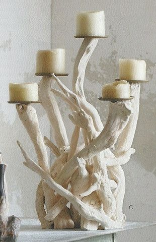 candelabra made of white driftwood